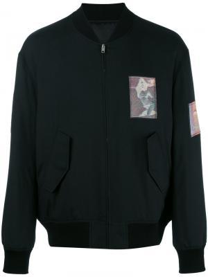 Куртка бомбер с нашивками Alexander Wang. Цвет: чёрный