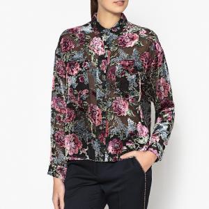 Рубашка однотонная с воротником-поло и длинными рукавами THE KOOPLES. Цвет: разноцветный