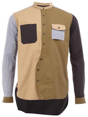 Рубашка колор-блок Wooster + Lardini. Цвет: коричневый