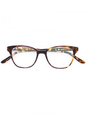 Square shaped glasses Masunaga. Цвет: коричневый