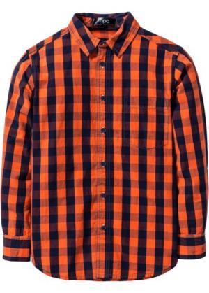 Рубашка в клетку (темно-синий/кроваво-оранжевый клетку) bonprix. Цвет: темно-синий/кроваво-оранжевый в клетку