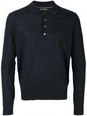 Рубашка-поло с длинными рукавами Corneliani. Цвет: синий