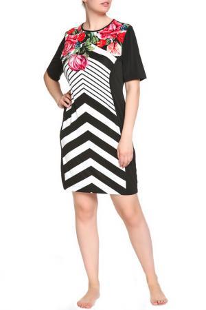 Платье домашнее LAVELLE. Цвет: черный, белый