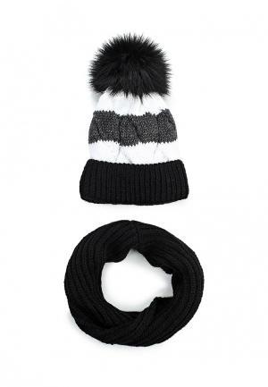 Комплект снуд и шапка Fete. Цвет: черно-белый