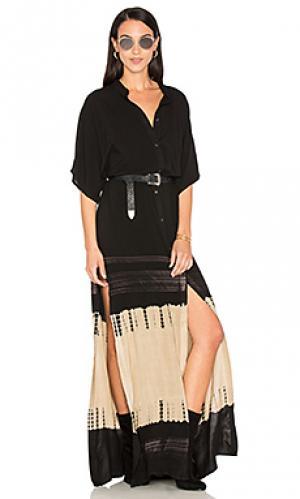Платье-рубашка с высоким разрезом Stillwater. Цвет: черный