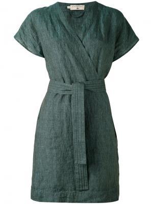 Платье с запахом и поясом Cotélac. Цвет: зелёный