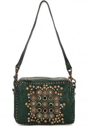 Зеленая кожаная сумка Campomaggi. Цвет: зеленый