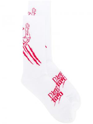 Трикотажные носки Plein Sport. Цвет: белый