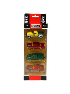 Набор из 4 металлических машин HOFFMANN. Цвет: темно-зеленый, темно-бордовый, темно-коричневый