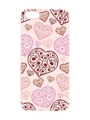 Чехол для iPhone 5/5s Кружевные сердца Арт. IP5-085 Chocopony. Цвет: розовый, черный