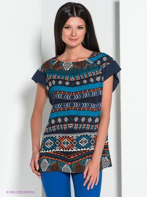 Блузка YUVITA. Цвет: зеленый, красный, темно-синий