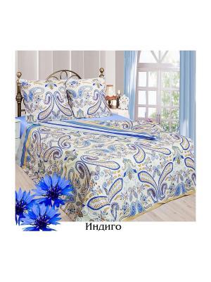 Постельное белье Евро Sova and Javoronok. Цвет: голубой, светло-бежевый, синий