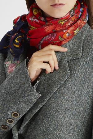 Платок из шерсти и шелка Gucci. Цвет: красный, синий