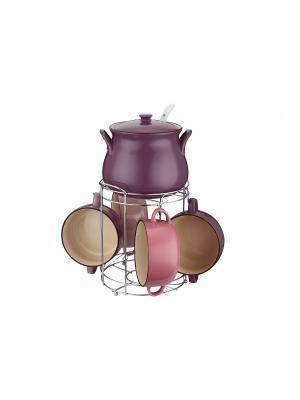 Набор керамических супниц с ложкой Peterhof. Цвет: розовый, сиреневый