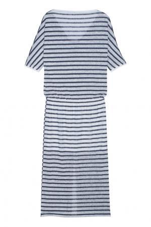 Льняное платье Tegin. Цвет: синий, белый