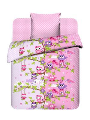 Комплект постельного белья из бязи 1,5 спальный Василек. Цвет: сиреневый, розовый