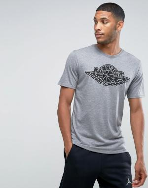 Jordan Серая футболка с логотипом Nike 834476-091. Цвет: серый
