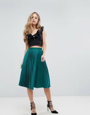 Outrageous Fortune Пышная плиссированная юбка миди. Цвет: зеленый