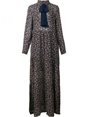 Длинное платье Mini Rose Ganni. Цвет: синий