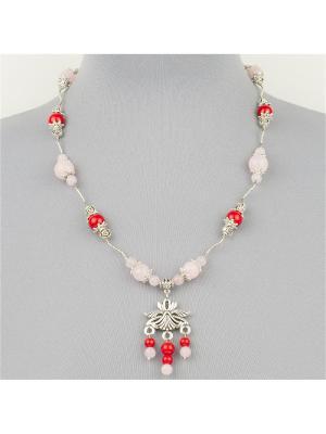 Авторские бусы Тайра розовый кварц, имитация коралла Револю. Цвет: красный