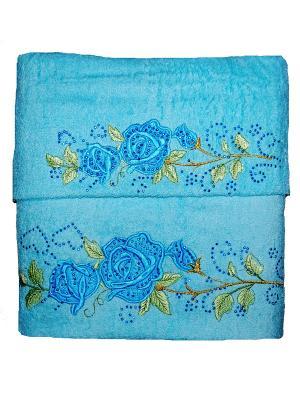 Комплект полотенец 2пр Розочки (50х90,70х140) La Pastel. Цвет: голубой