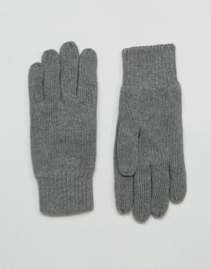 Selected Homme Серые перчатки Leth. Цвет: серый