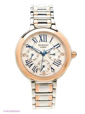 Часы Sheen SHE-3034SG-7A CASIO. Цвет: серебристый, золотистый