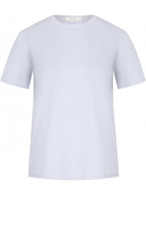 Однотонная хлопковая футболка с круглым вырезом The Row. Цвет: голубой