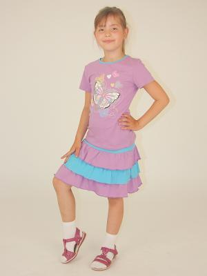 Комплект для девочек Милослава. Цвет: сиреневый, морская волна