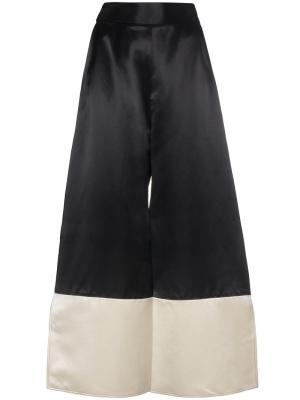 Широкие атласные брюки Sina Beaufille. Цвет: чёрный