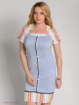 Платье Klimini. Цвет: синий, оранжевый, белый