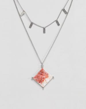 ASOS Ожерелье с камнями из переработанного хлопка мраморным эффектом. Цвет: серебряный