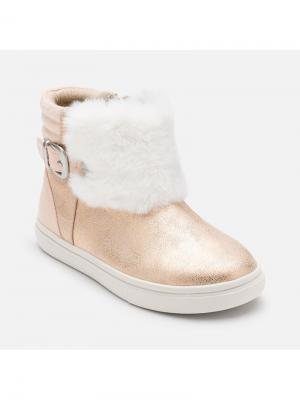 Ботинки Mayoral. Цвет: бледно-розовый, белый, золотистый