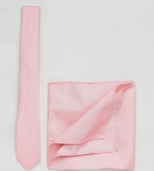 ASOS Светло-розовый галстук и платок для пиджака PLUS. Цвет: розовый