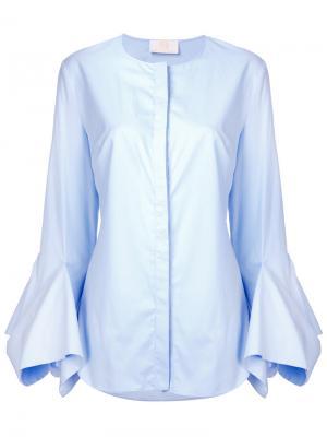 Рубашка с рукавами клеш Sara Battaglia. Цвет: синий