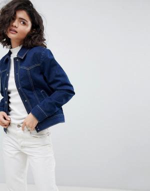 ASOS Джинсовая куртка цвета индиго в стиле вестерн DESIGN. Цвет: синий