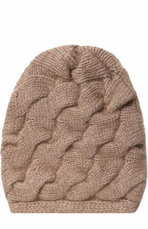 Кашемировая шапка фактурной вязки с помпоном из меха песца TSUM Collection. Цвет: коричневый