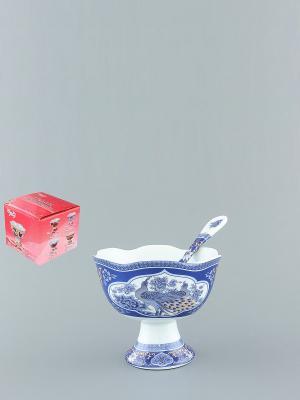 Креманка Павлин синий Elan Gallery. Цвет: синий, белый