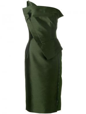 Платье на одно плечо Antonio Berardi. Цвет: зелёный