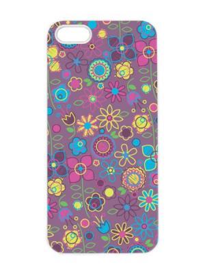 Чехол для iPhone 5/5s Цветочный принт Арт. IP5-040 Chocopony. Цвет: лиловый, серый, серо-зеленый