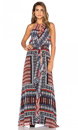 Макси платье с рюшами спереди Twelfth Street By Cynthia Vincent. Цвет: черный
