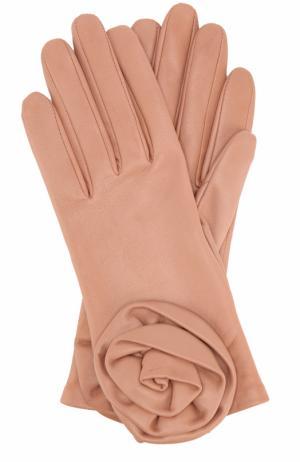 Кожаные перчатки с декором Agnelle. Цвет: розовый