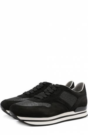 Замшевые кроссовки с вставками из текстиля Hogan. Цвет: черный