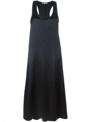 Длинное платье со спинкой рейсер Helmut Lang. Цвет: синий