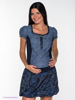 Платье UNIOSTAR. Цвет: темно-синий