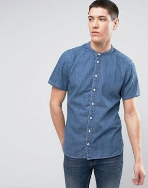Casual Friday Джинсовая рубашка с короткими рукавами и воротником на пуговицах Casua. Цвет: синий