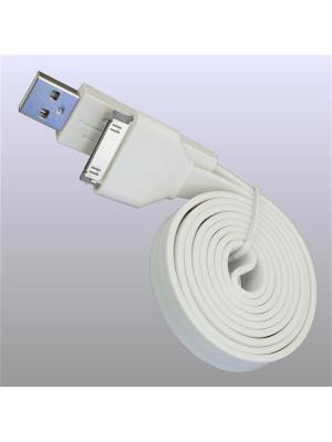 Usb кабель Pro Legend плоский Iphone 4, 30 pin 1м, белый. Цвет: белый