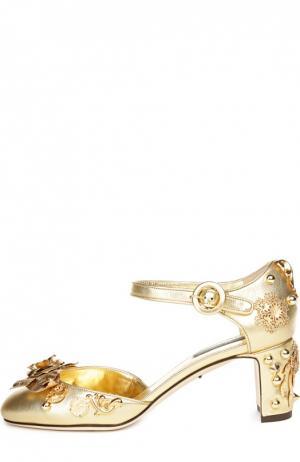 Кожаные туфли Vally с декором Dolce & Gabbana. Цвет: золотой