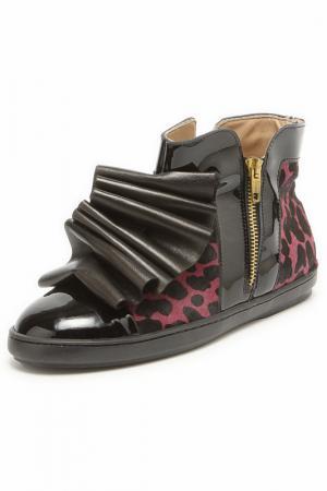 Ботинки с жабо Bouton. Цвет: сиреневый, черный