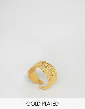 Ottoman Hands Эксклюзивное разомкнутое кольцо в виде пера. Цвет: золотой